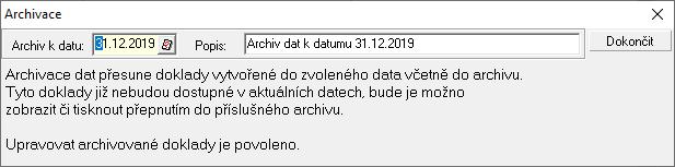 Vytvoření nového archivu